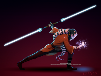 Yuned'rar and his Dualsaber by SpacelingArt