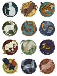 12 Chinese Zodiac Signs by erinwitzel