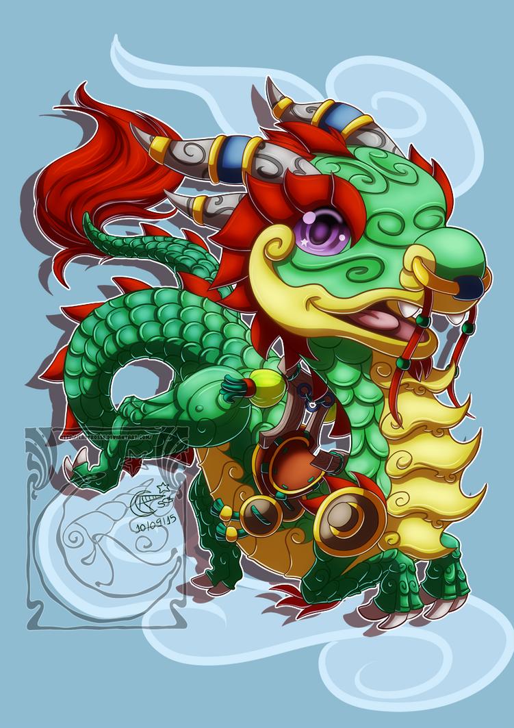 Chibi Mount - Jade Cloud Serpent by LadyRosse