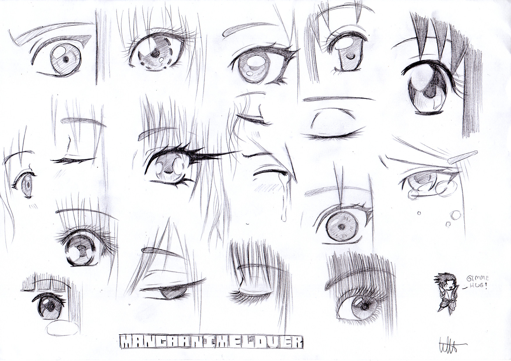 how to draw eyes at an angle