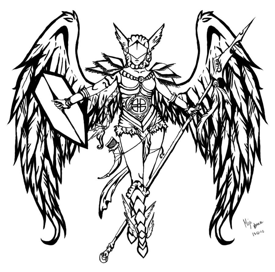 Line Art Meaning : Valkyrie by godwhatawfulracket on deviantart