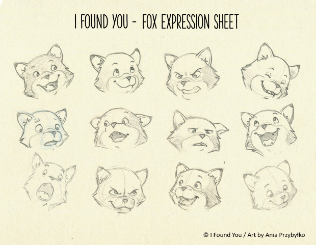 2D Animation - I Found You - Fox expression sheet by lisiCat