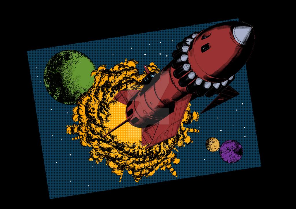 Retro Rocketship by SimonArtGuyBreeze