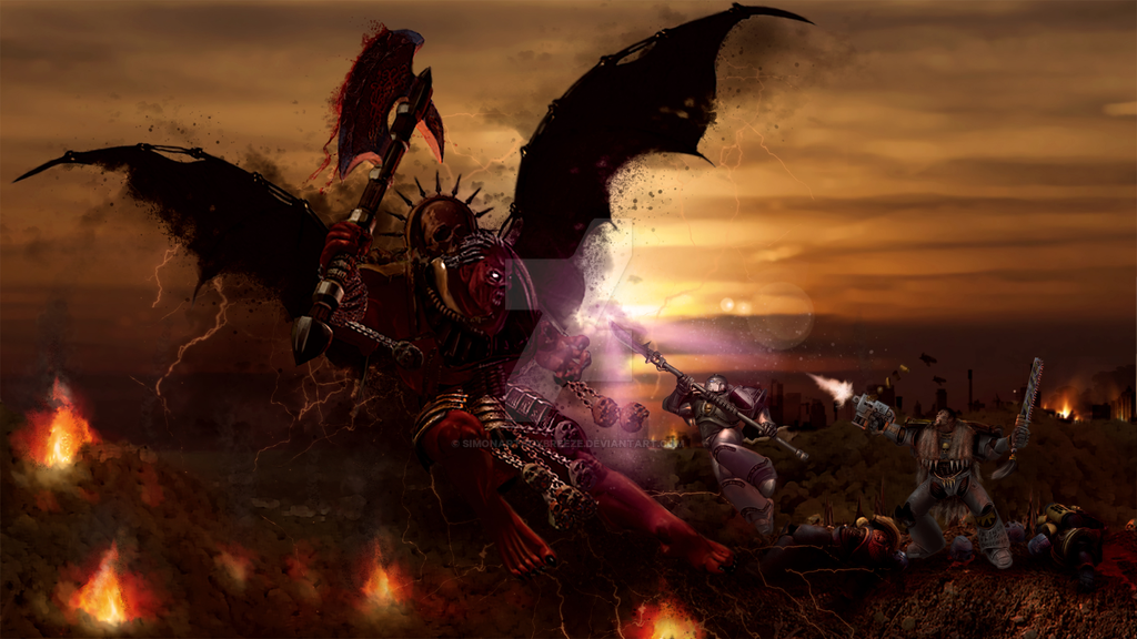 Daemon Prince of Khorne by SimonArtGuyBreeze