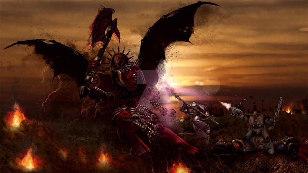 Daemon Prince of Khorne by SimonArtGuyBreeze