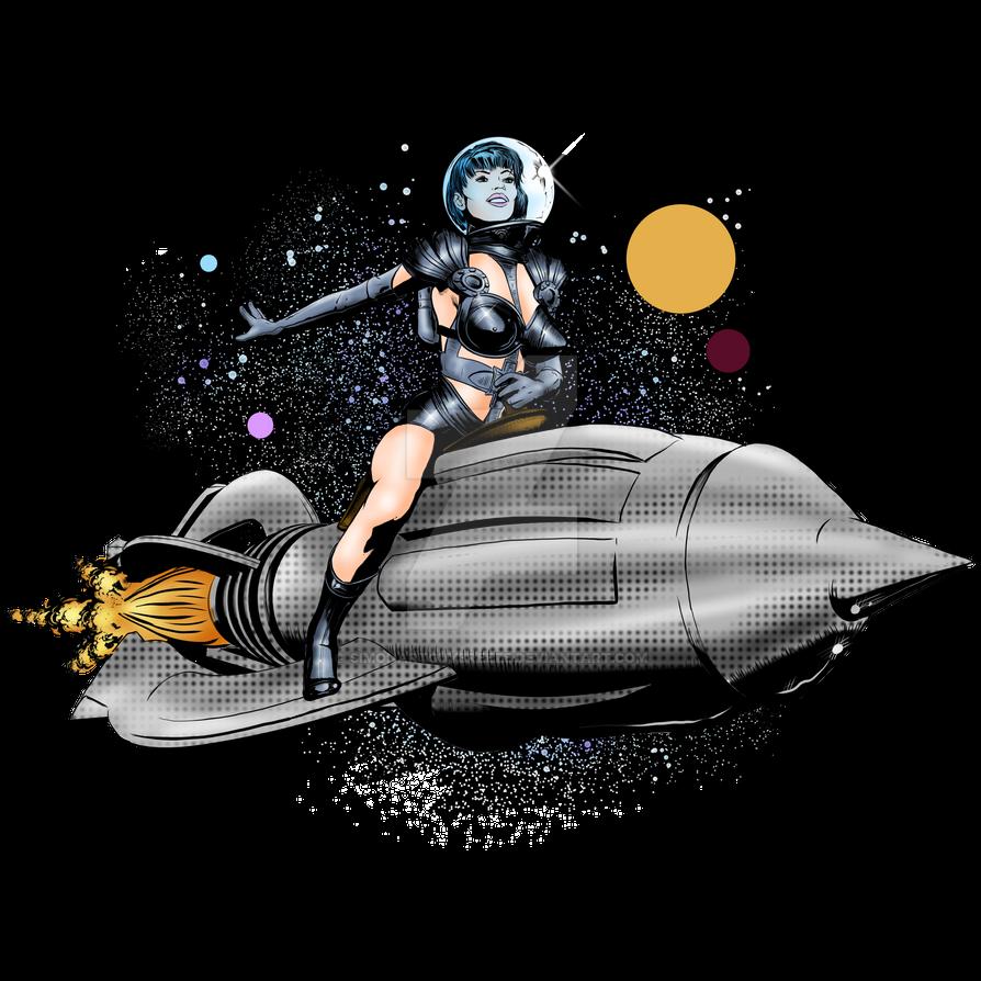 Retro Rocket Girl by SimonArtGuyBreeze
