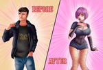 Before and After - Big Titty Goth GF