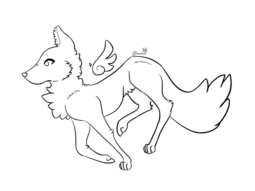 Winged Wolf Lineart  by xgalaxymeowx