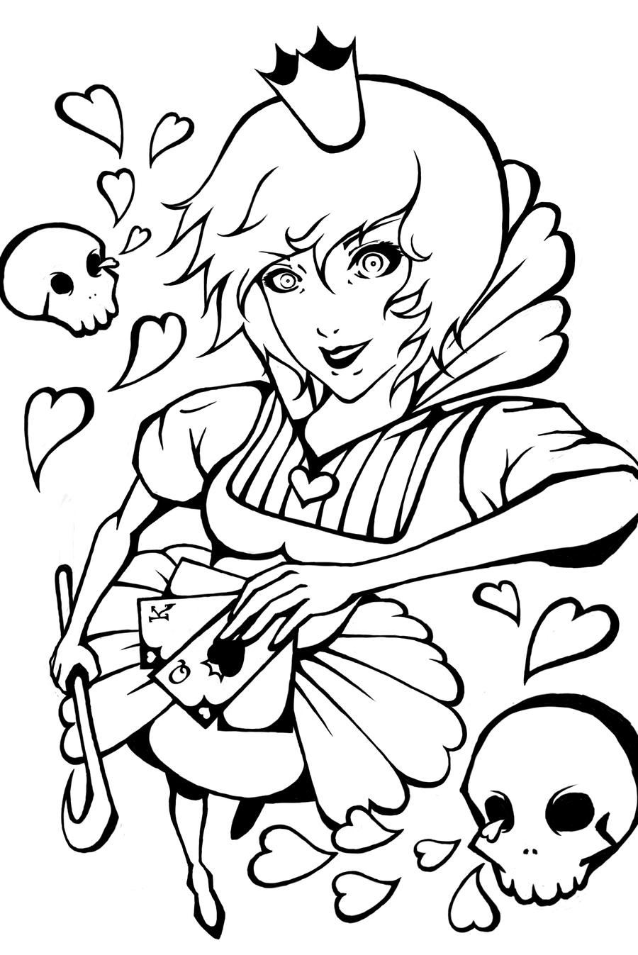 Queen Of Hearts Anime Coloring Pages Sketch Coloring Page