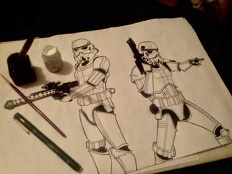 Stormtrooper nanquim  by ultraseven81