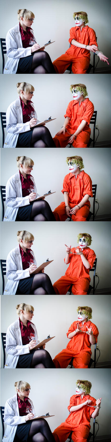 Dr. Harleen Quinzel overseeing Patient 4479 [Pt 3] by NabCosplay