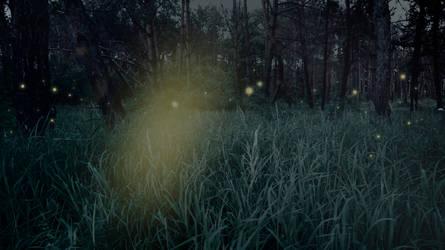 blue night greenery