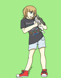 Commission- A girl and her cat by minimerc