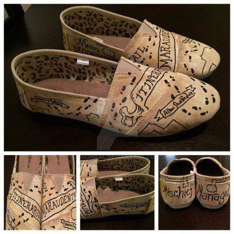 marauder s map harry potter shoes by glingal on deviantart