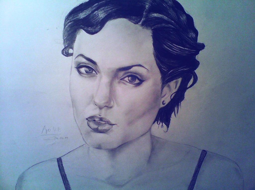Angelina Jolie in short hair by MikkoChan