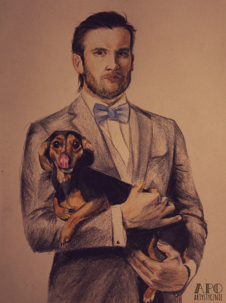 Clive Standen with sausage dog by MikkoChan