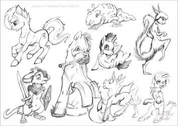 Pony sketches + few creatures