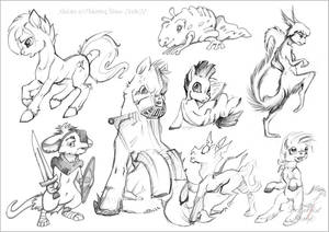 Pony sketches + few creatures