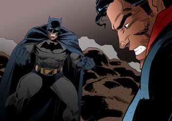 BATMAN vs SUPERMAN old school by IttoOgamy