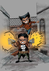 Punisher and Wolverine by IttoOgamy