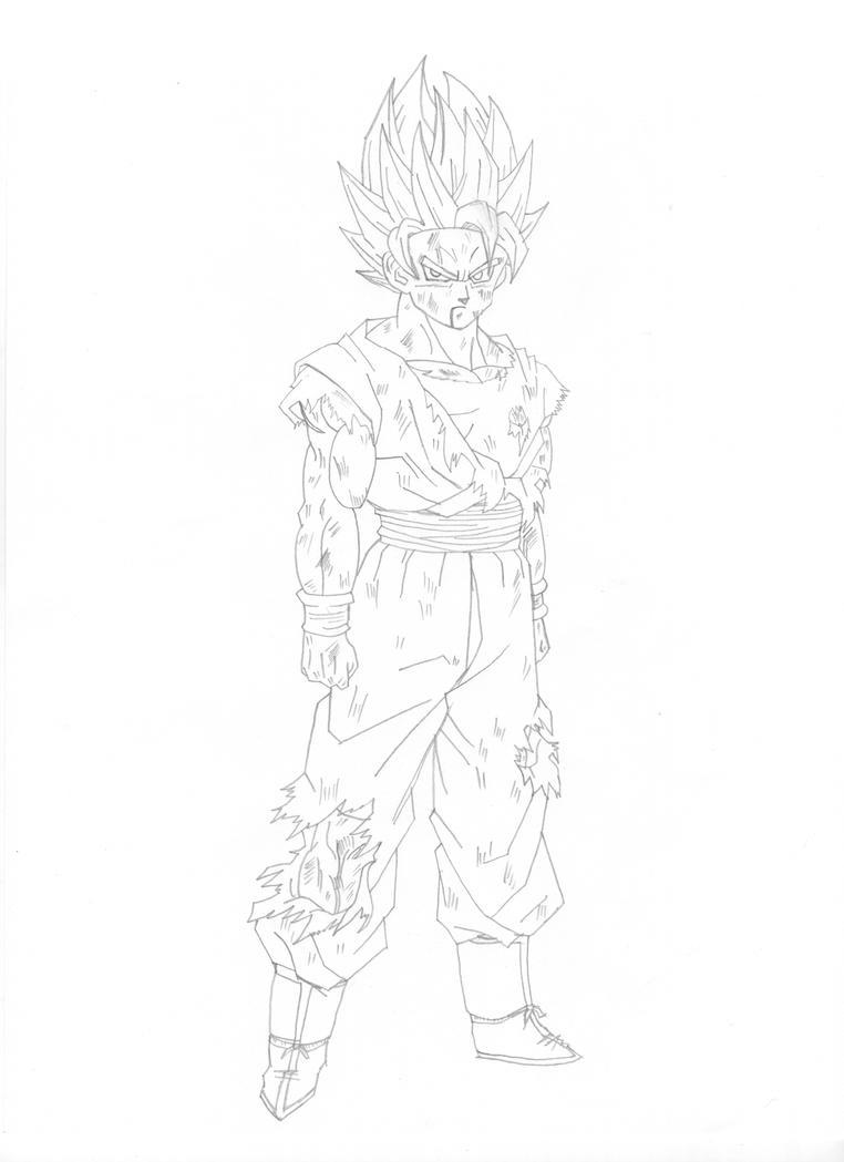Goku Ssj2 Lineart by cheygipe on DeviantArt
