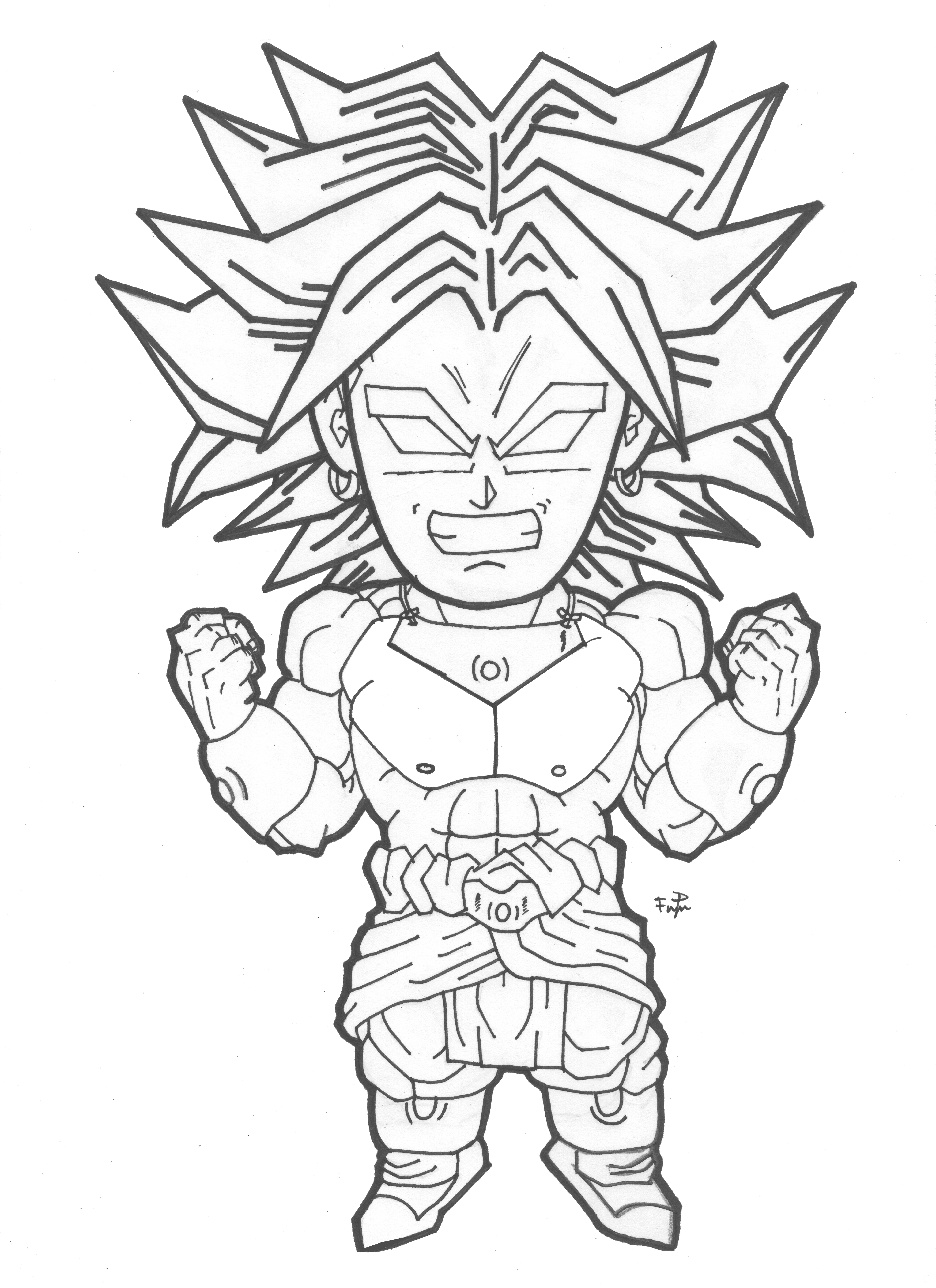 Dragon Ball Z Lineart : Chibi broly lineart by cheygipe on deviantart