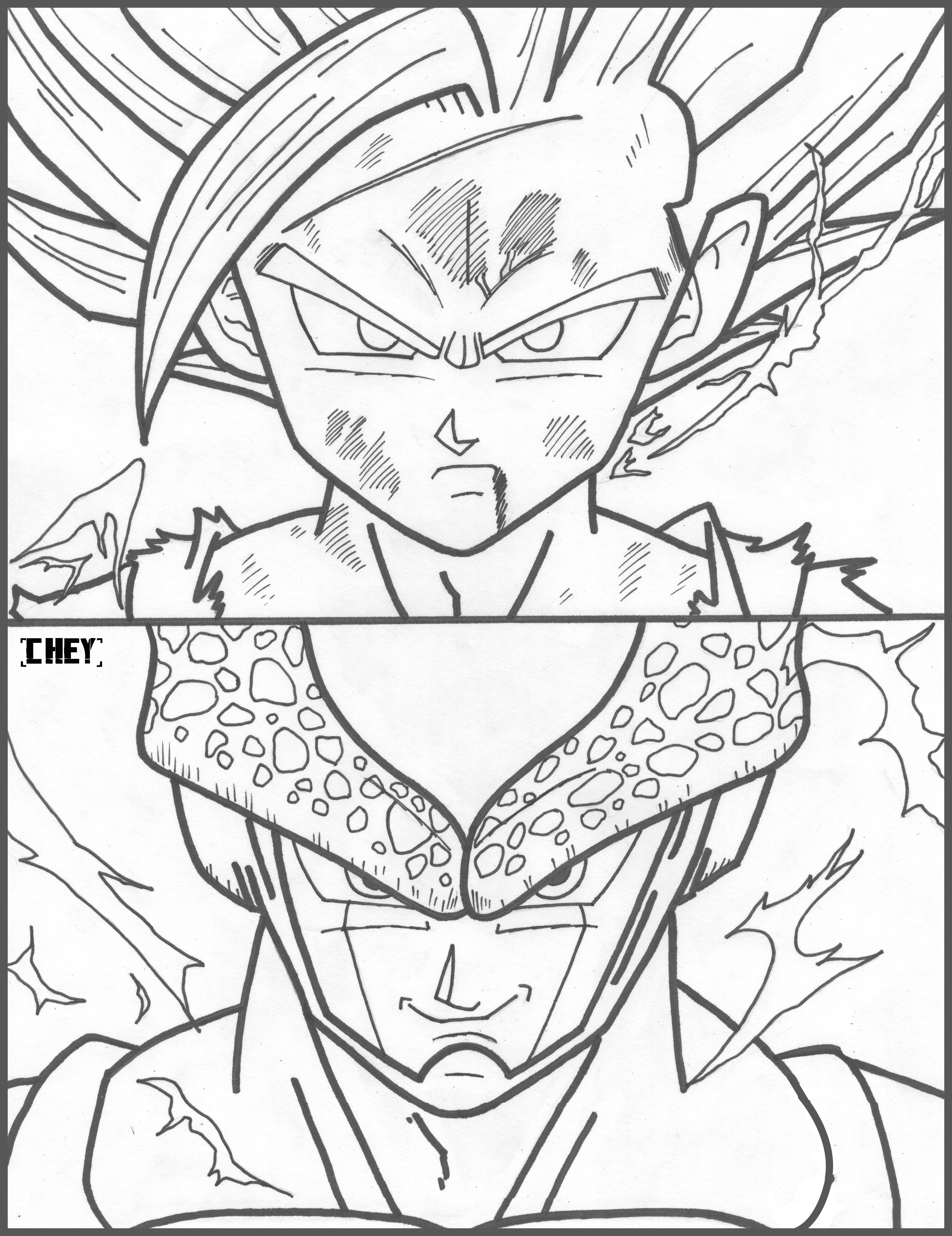 Gohan ssj2 vs super perfect cell by cheygipe on deviantart for Dragon ball z cell coloring pages