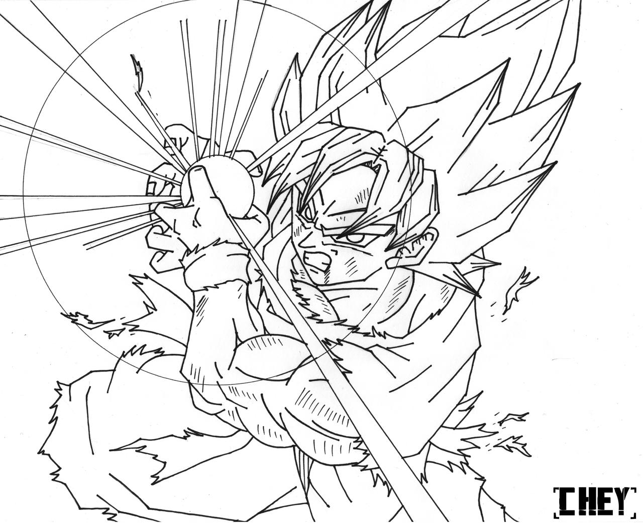 Goku ssj kamehameha lineart by cheygipe on deviantart for Goku coloring pages