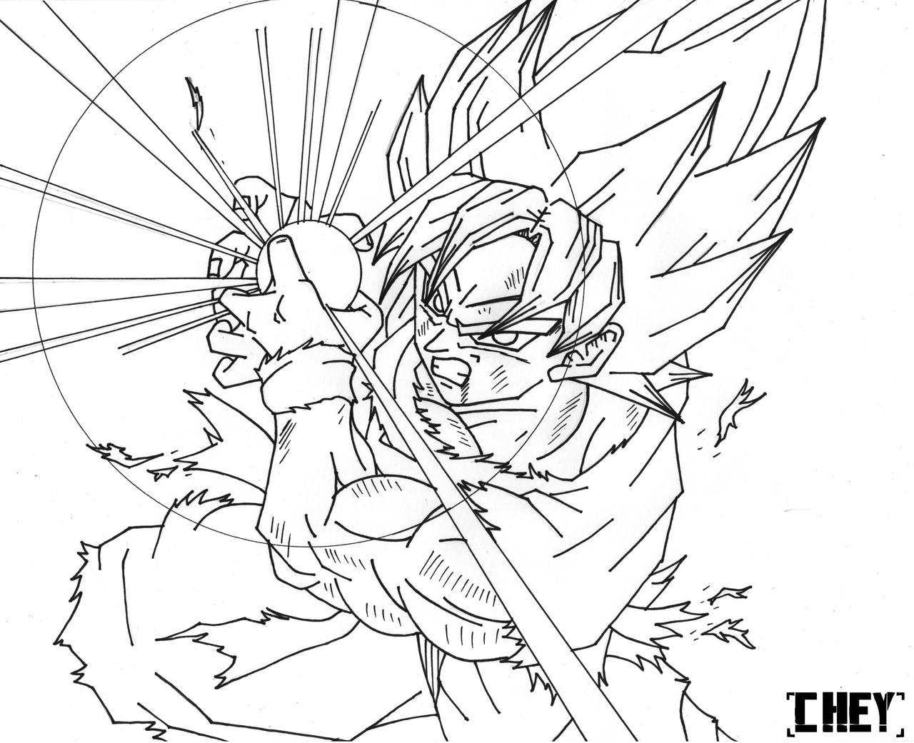 Goku Ssj Kamehameha! [Lineart] by cheygipe on DeviantArt