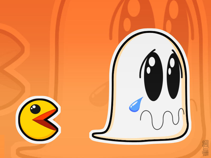 Boo Hoo Ghostie With Pac Man by brenlez