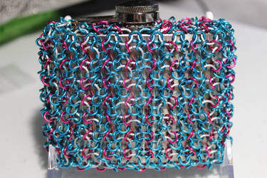 Cotton Candy Inspired Chainmaille Wrapped Flask