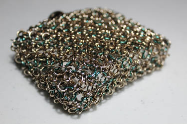 Chainmaille Wrapped Flask Champagne and Dark Green