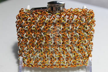 Candy Corn Chainmaille Wrapped Flask