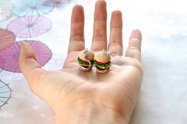 Crochet Amigurumi Deluxe Cheeseburger Earrings (2) by ...
