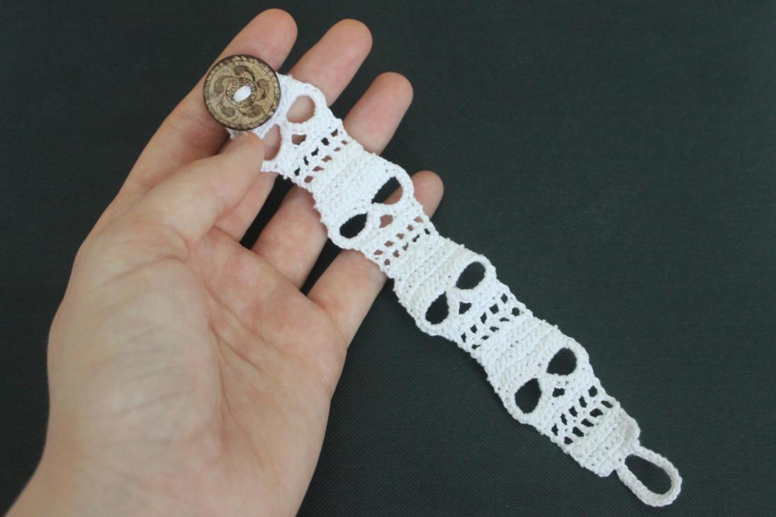 Free Amigurumi Skull Pattern : Crocheted Skull Bracelet Cuff by SkySinger92 on DeviantArt