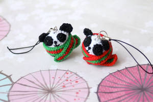 Holiday Panda Keychains by TheBittiestBaubles
