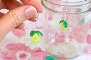 Miniature Amigurumi Pear Earrings by TheBittiestBaubles