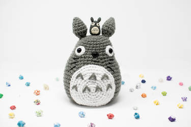 Large Crochet Totoro and His Little Totoro Friend