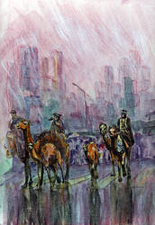 Camels in the City by linandara