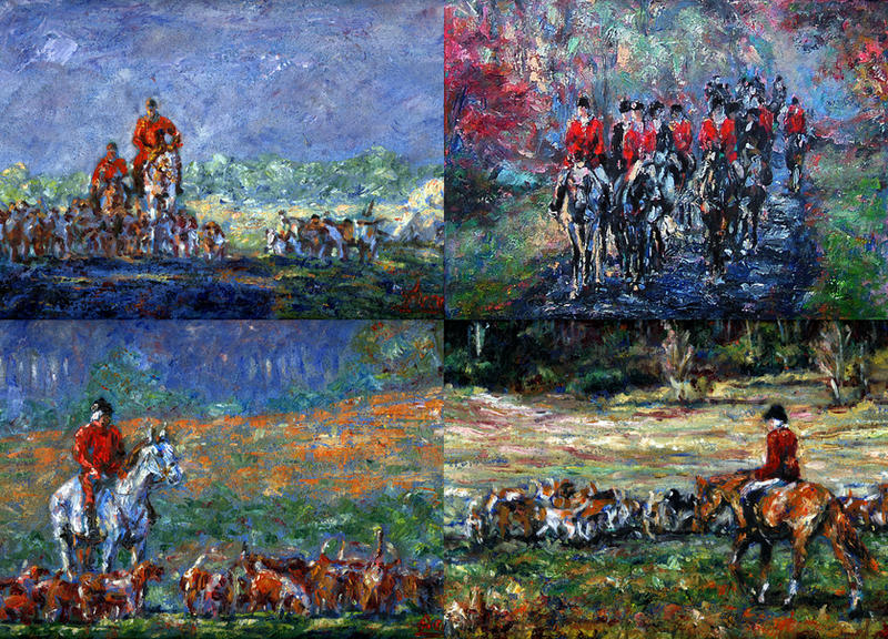 Four Fox Hunting Paintings