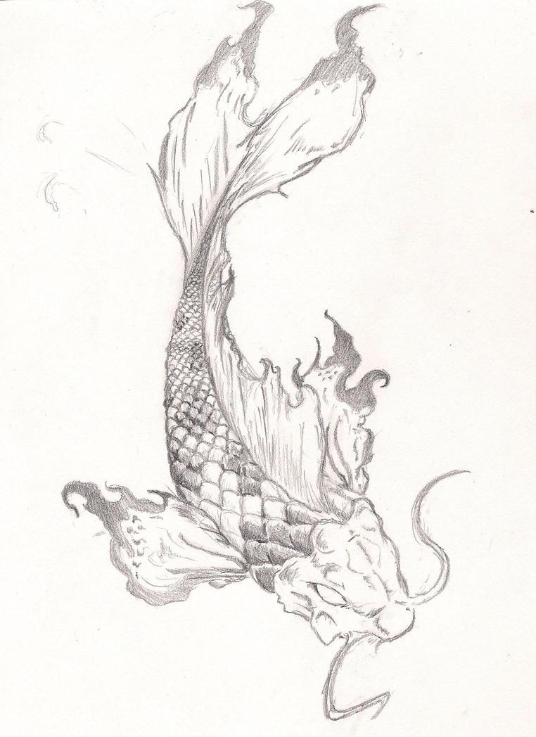 Koi fish tattoo by roninsamurai87 on deviantart for Coy fish drawing