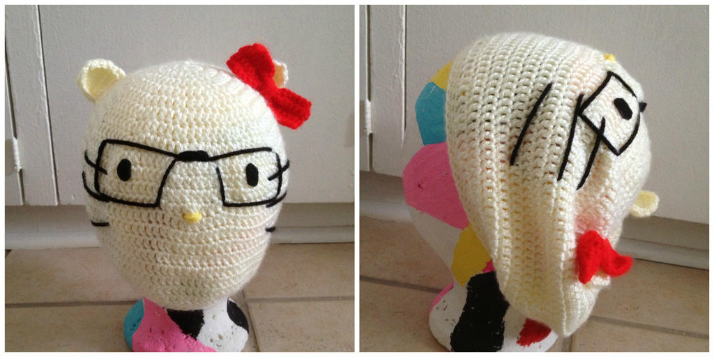 Hipster Hello Kitty Crochet Beanie by Chebk