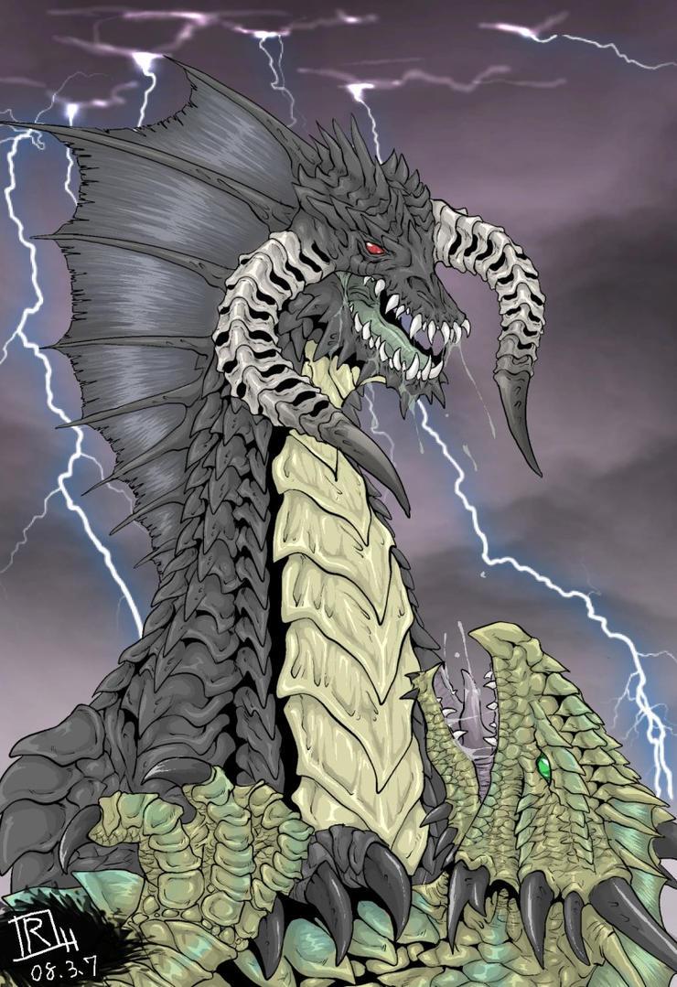 Black dragon vs. Bronze dragon by Reh0