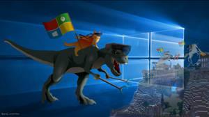 Windows 10 T-Rex and Ninja Cat by KrokoZero