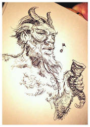 Satyr with drinking horn... by hesir