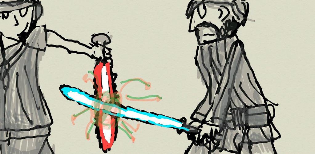 Mann vs Jedi by nobodyhasthisnameyet