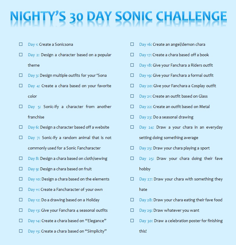 30 Day Sonic Challege by Night-the-PantherCat