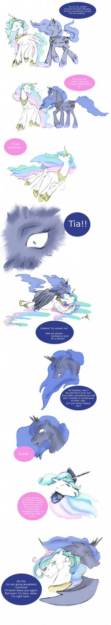 I'm not leaving you, Celestia by Secoramoondragon
