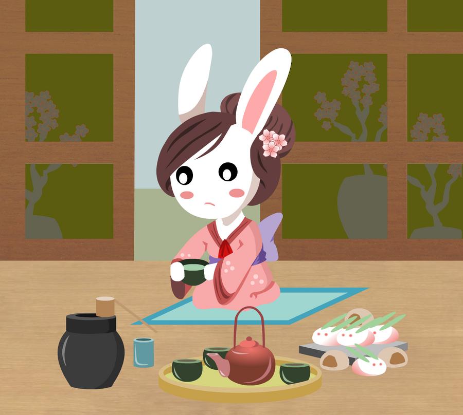 tea ceremony bunny by rainELL