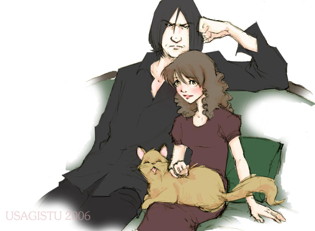Snape and Hermione Sitting by usagistu